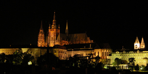 [Prague Castle at Night - Click for main page of Prague exhibit]